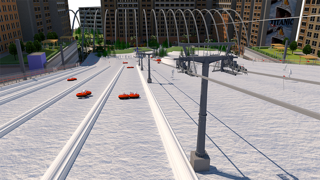 Artificial downhill ski and snow tubing slope